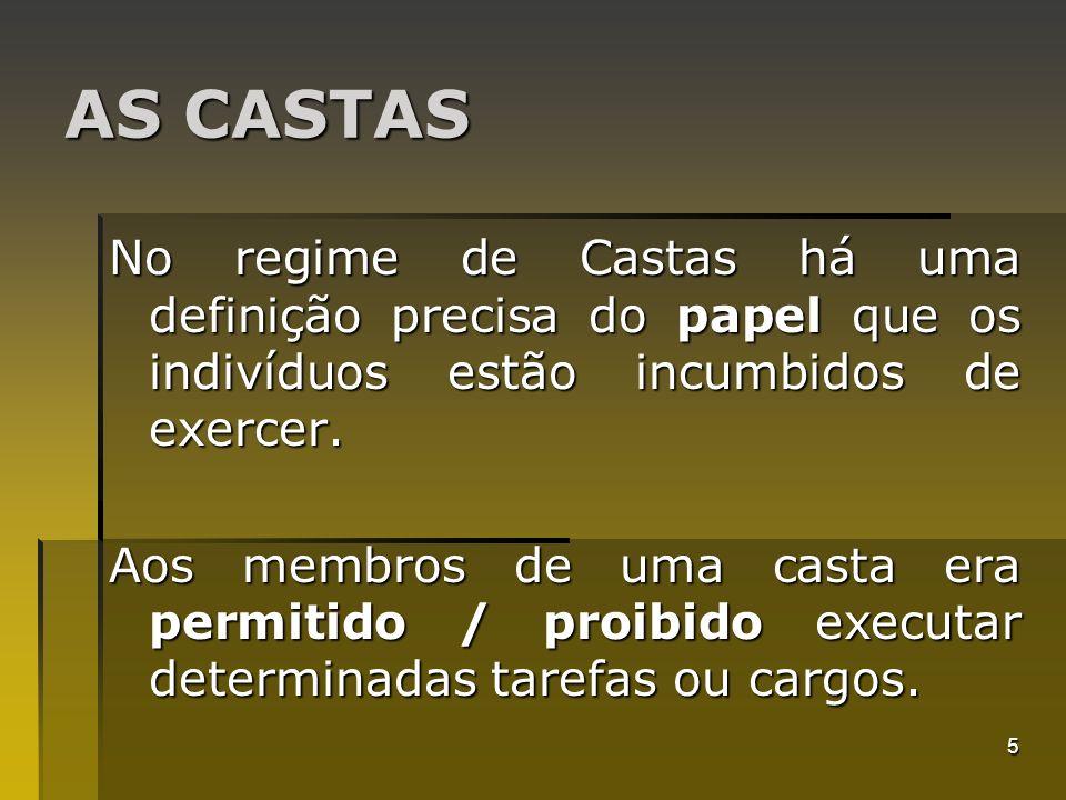 AS CASTAS No regime de Castas há uma definição precisa do papel que os indivíduos estão incumbidos de exercer.