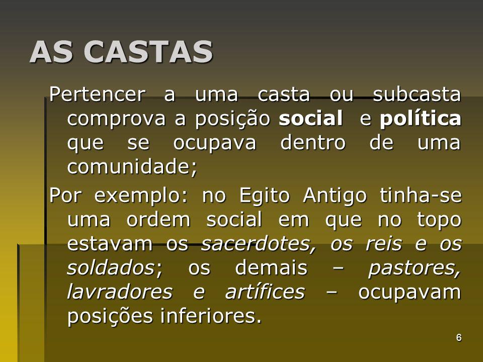 AS CASTAS Pertencer a uma casta ou subcasta comprova a posição social e política que se ocupava dentro de uma comunidade;
