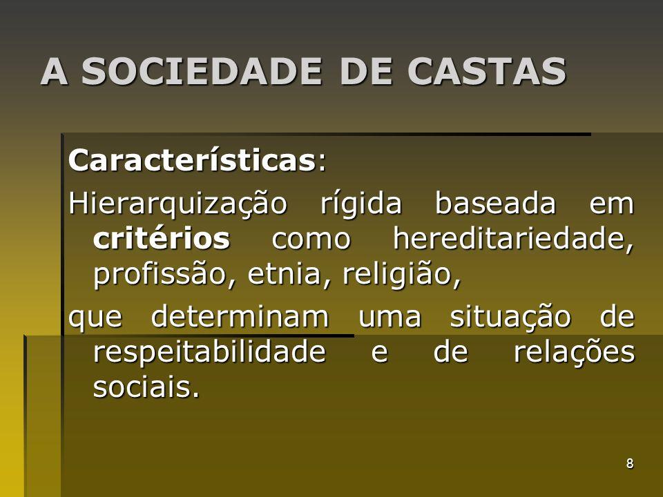 A SOCIEDADE DE CASTAS Características: