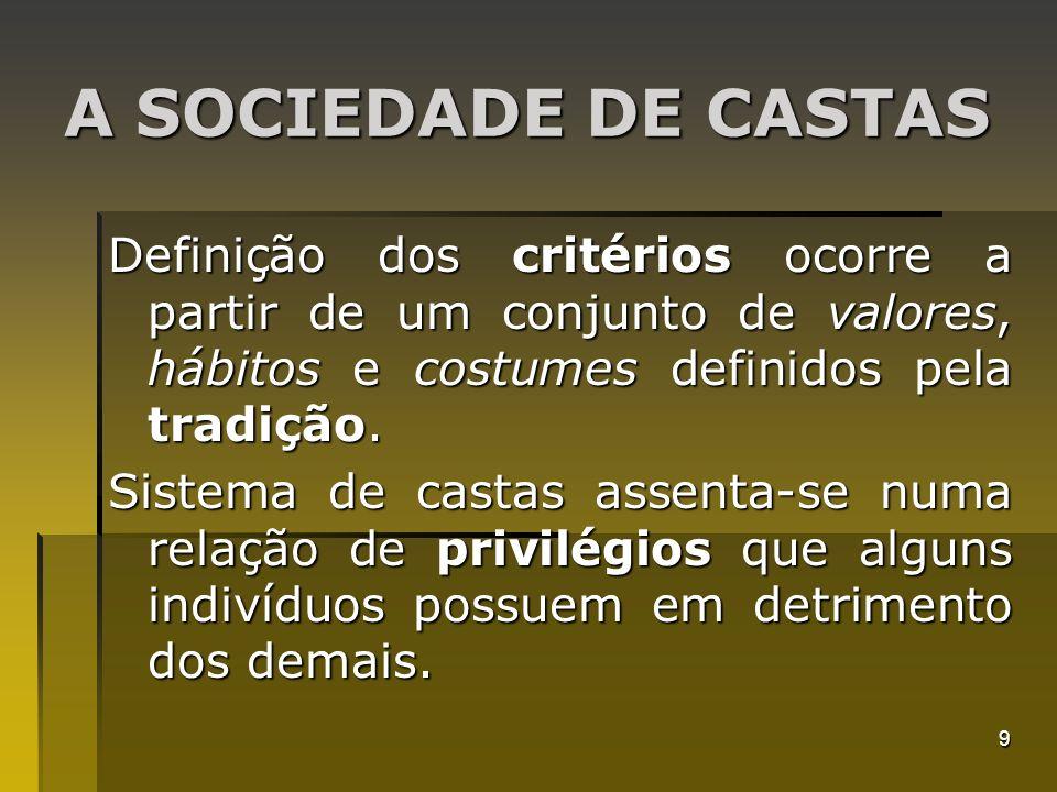 A SOCIEDADE DE CASTAS Definição dos critérios ocorre a partir de um conjunto de valores, hábitos e costumes definidos pela tradição.