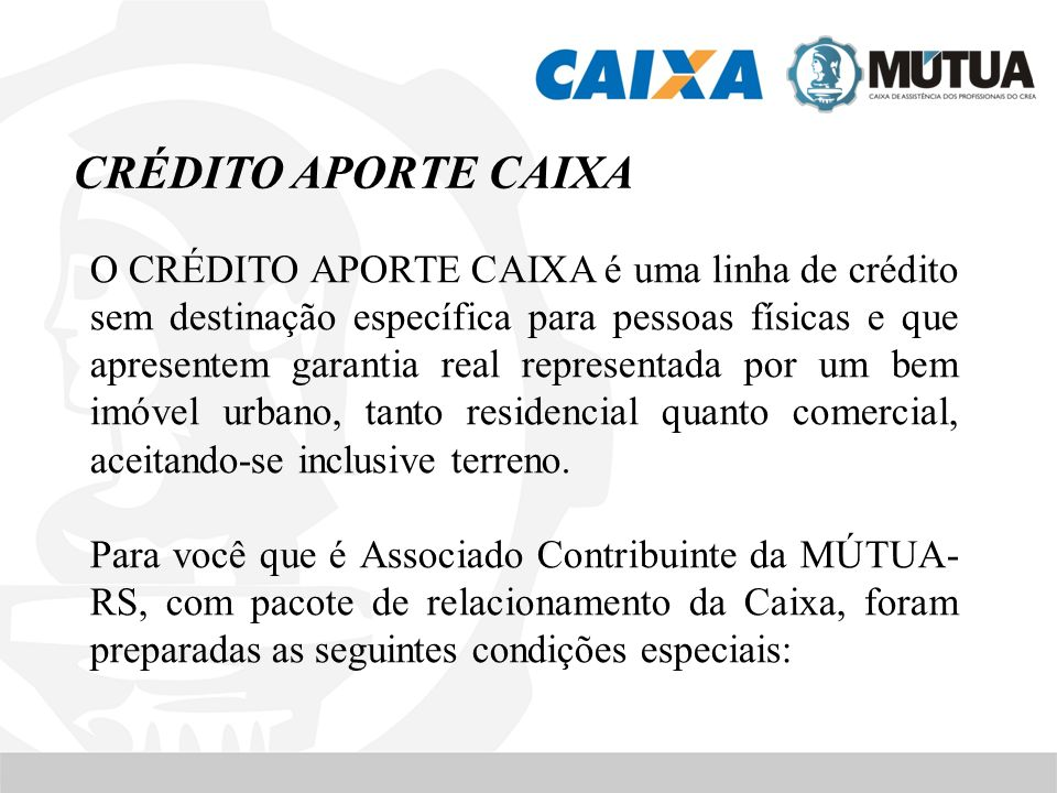 CRÉDITO APORTE CAIXA
