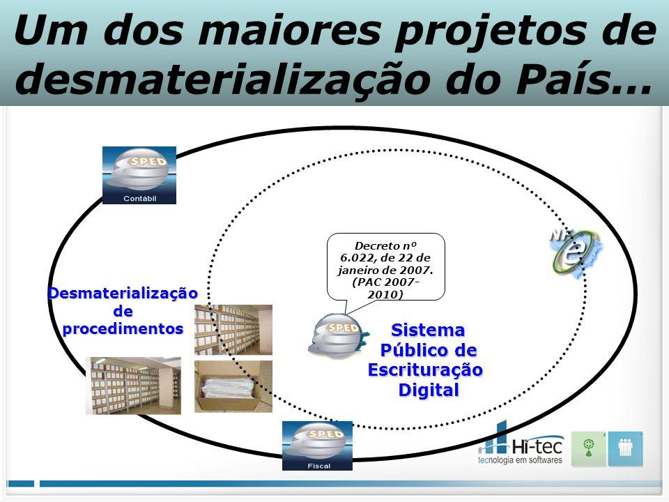 Um dos maiores projetos de desmaterialização do País...