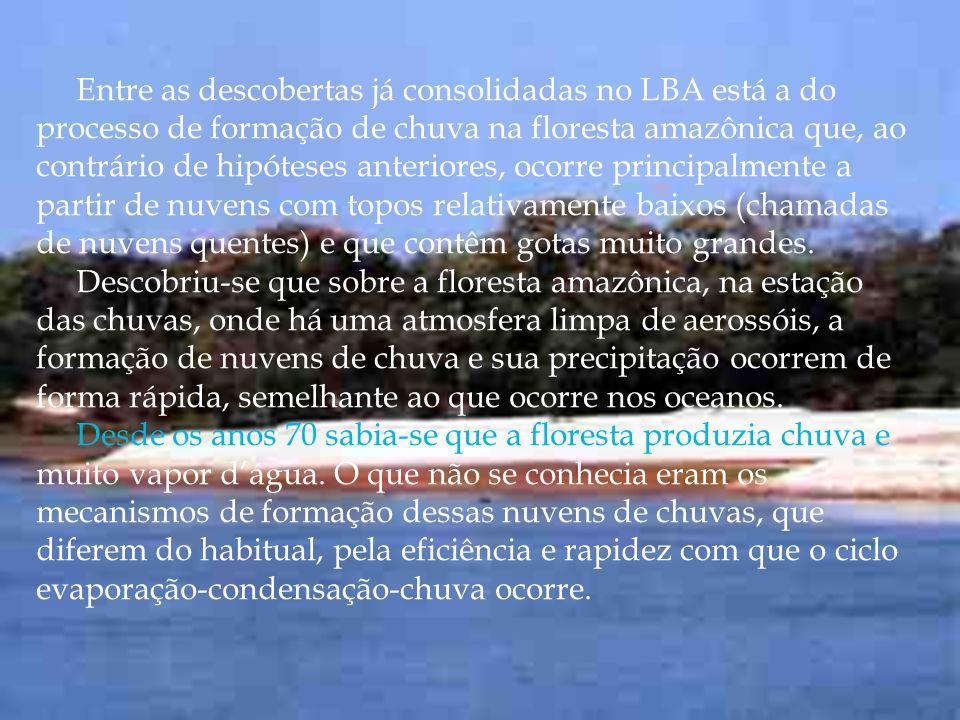 Entre as descobertas já consolidadas no LBA está a do processo de formação de chuva na floresta amazônica que, ao contrário de hipóteses anteriores, ocorre principalmente a partir de nuvens com topos relativamente baixos (chamadas de nuvens quentes) e que contêm gotas muito grandes.