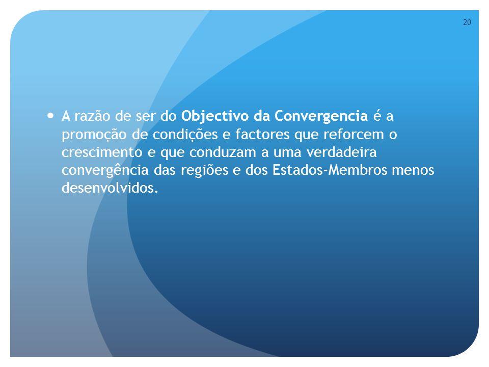 A razão de ser do Objectivo da Convergencia é a promoção de condições e factores que reforcem o crescimento e que conduzam a uma verdadeira convergência das regiões e dos Estados-Membros menos desenvolvidos.