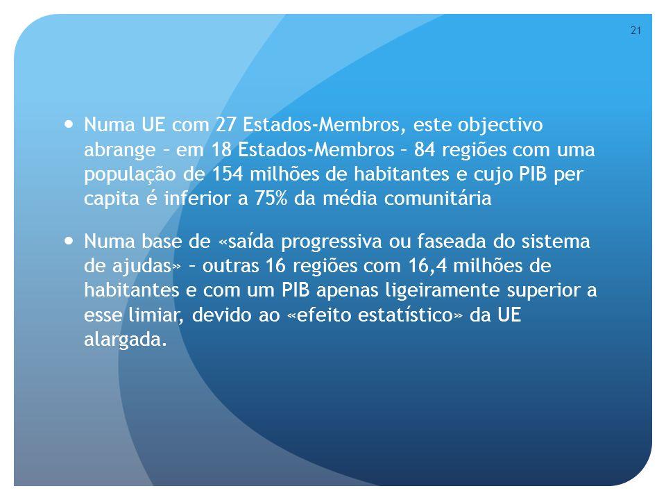 Numa UE com 27 Estados-Membros, este objectivo abrange – em 18 Estados-Membros – 84 regiões com uma população de 154 milhões de habitantes e cujo PIB per capita é inferior a 75% da média comunitária