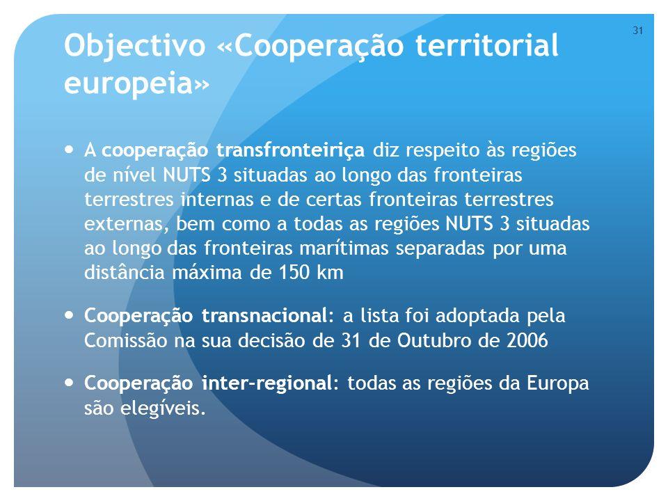 Objectivo «Cooperação territorial europeia»