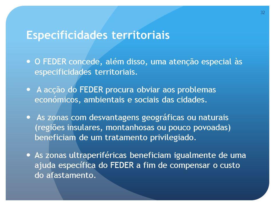 Especificidades territoriais