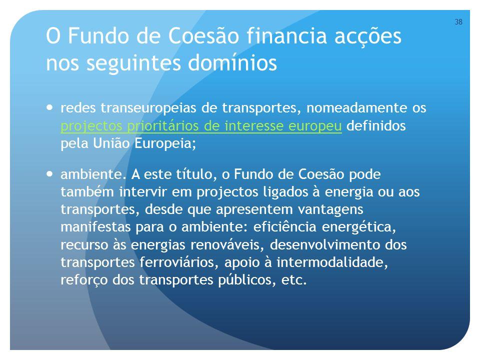 O Fundo de Coesão financia acções nos seguintes domínios