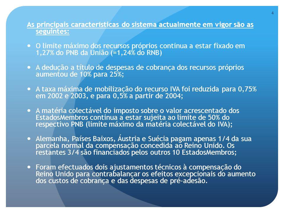 As principais características do sistema actualmente em vigor são as seguintes: