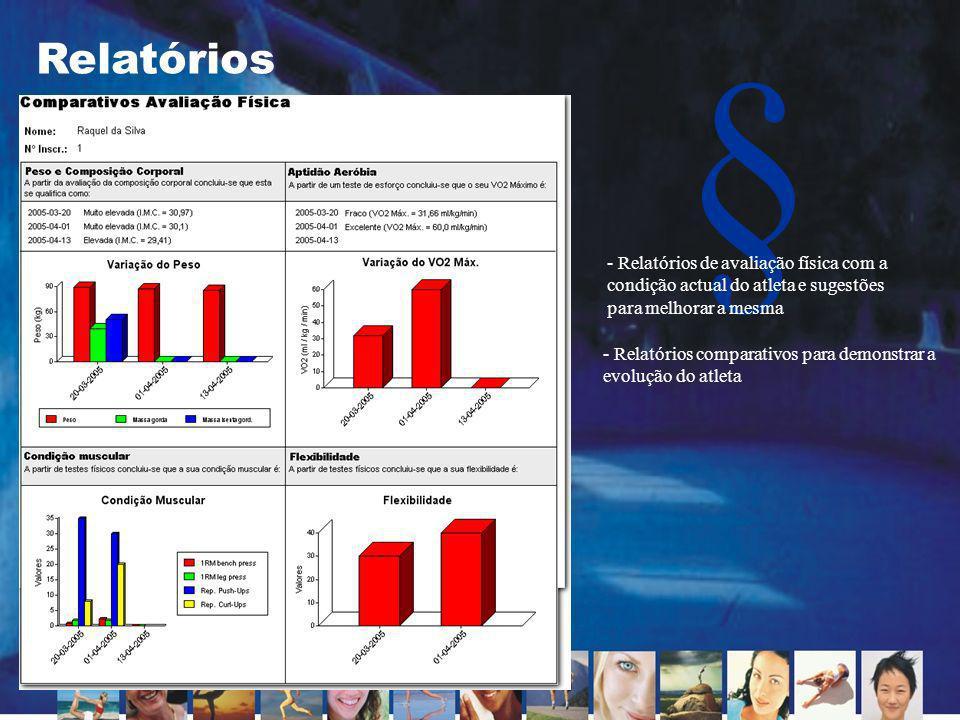 Relatórios Relatórios de avaliação física com a condição actual do atleta e sugestões para melhorar a mesma.