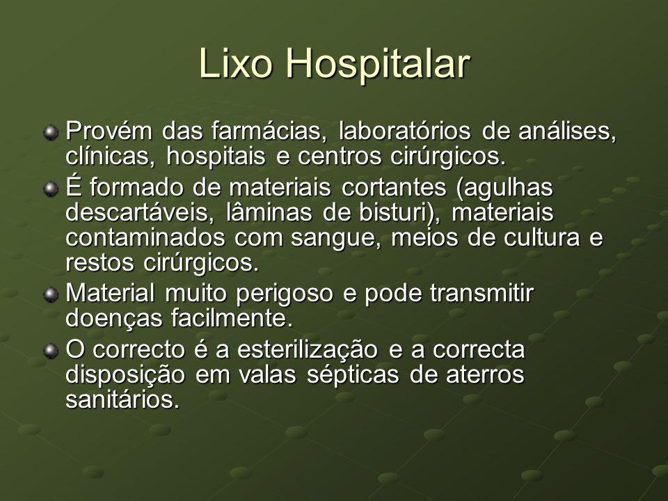 Lixo Hospitalar Provém das farmácias, laboratórios de análises, clínicas, hospitais e centros cirúrgicos.