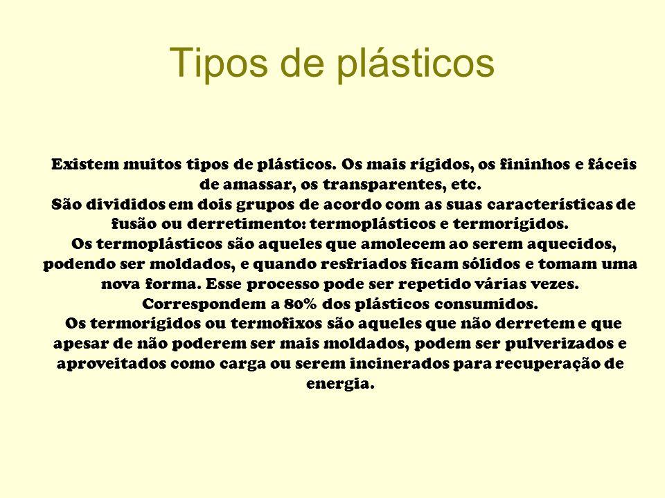 Tipos de plásticos Existem muitos tipos de plásticos. Os mais rígidos, os fininhos e fáceis de amassar, os transparentes, etc.