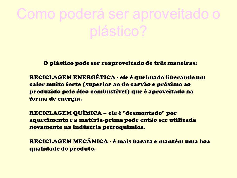 Como poderá ser aproveitado o plástico