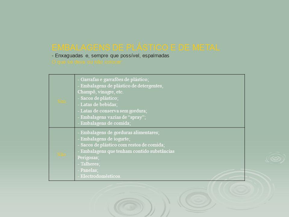 EMBALAGENS DE PLÁSTICO E DE METAL