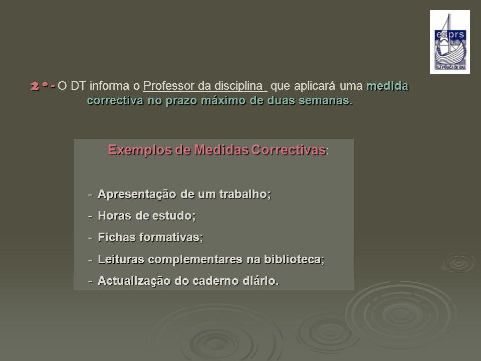 Exemplos de Medidas Correctivas:
