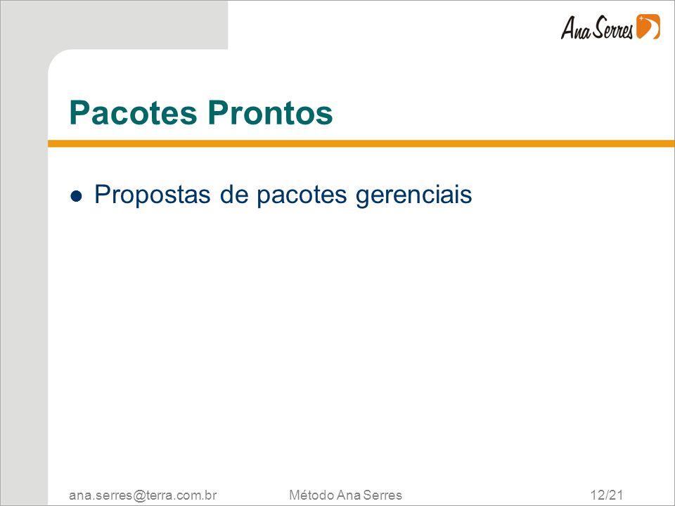 Pacotes Prontos Propostas de pacotes gerenciais Método Ana Serres