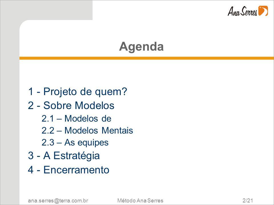 Agenda 1 - Projeto de quem 2 - Sobre Modelos 3 - A Estratégia