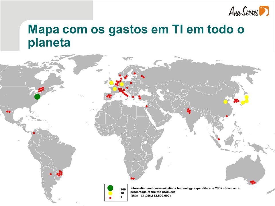 Mapa com os gastos em TI em todo o planeta