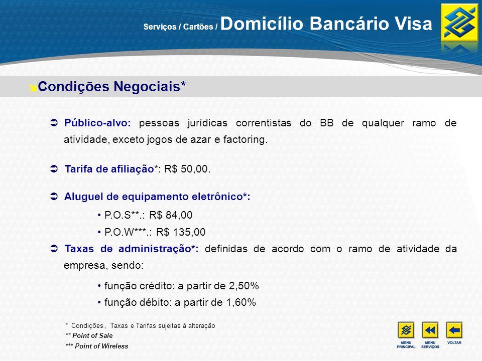 Serviços / Cartões / Domicílio Bancário Visa