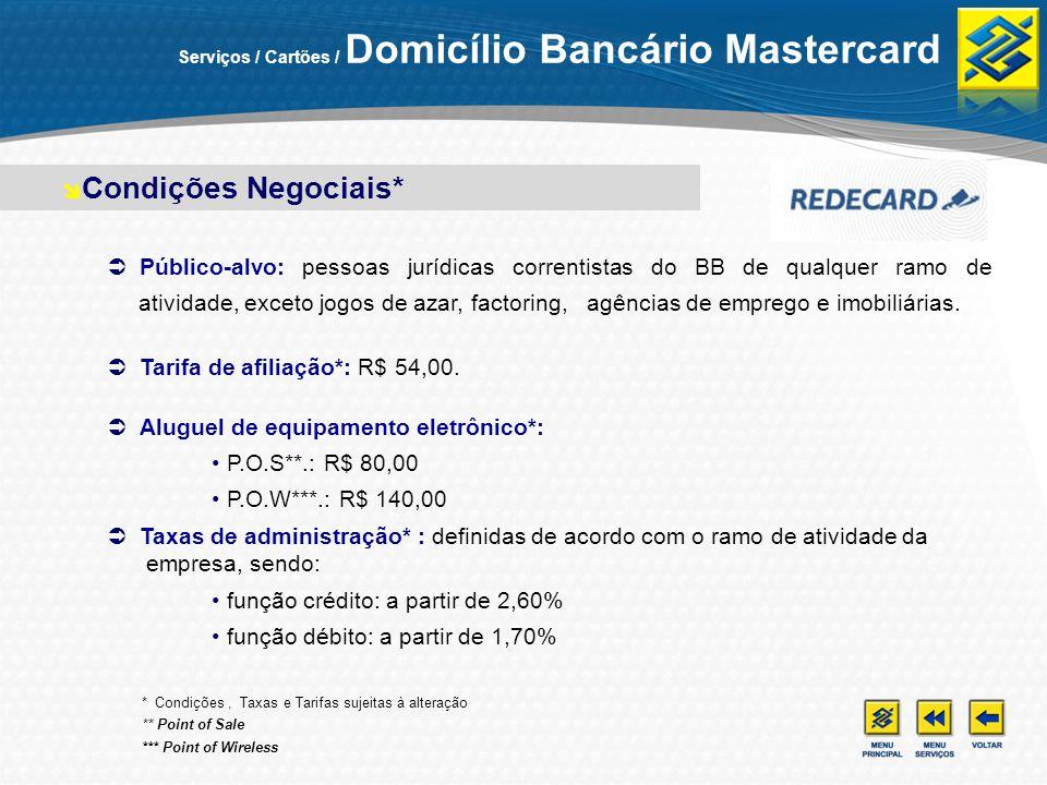 Serviços / Cartões / Domicílio Bancário Mastercard