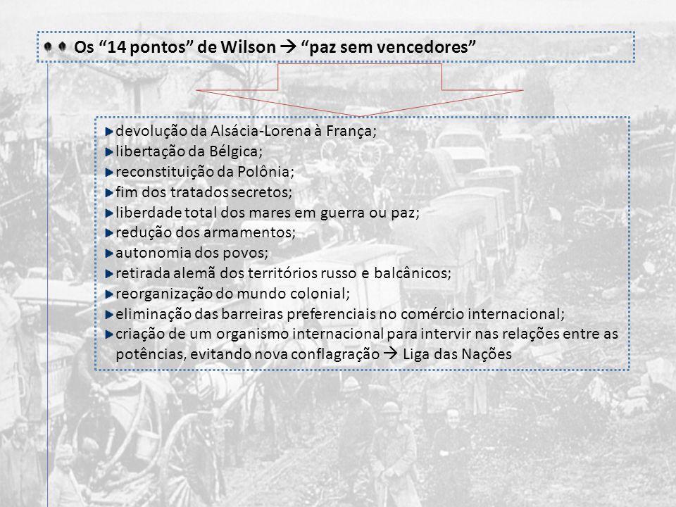 Os 14 pontos de Wilson  paz sem vencedores