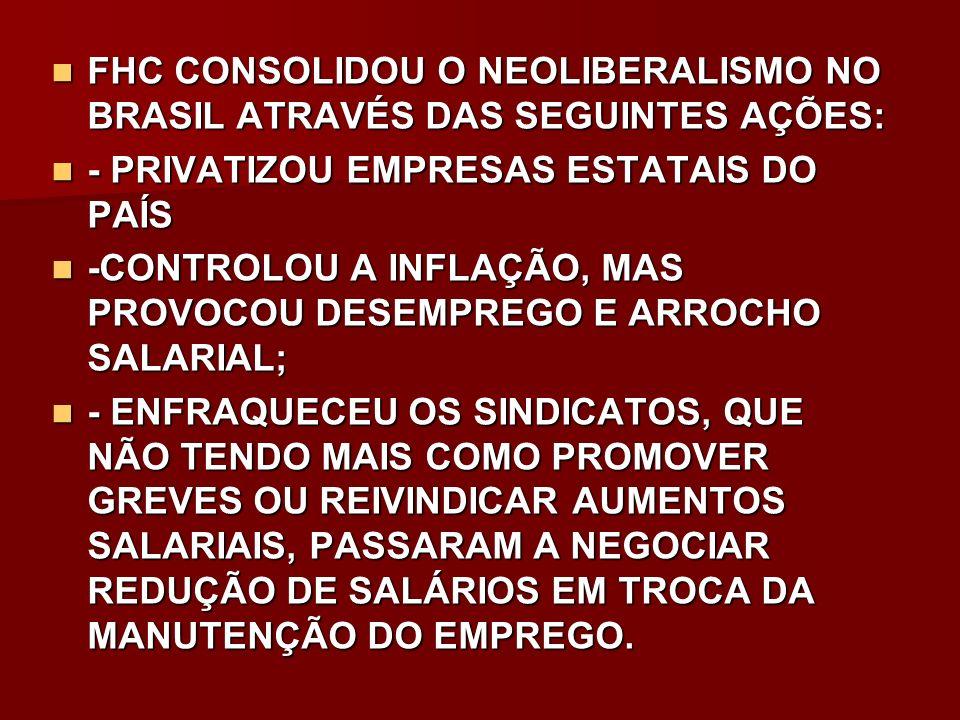 FHC CONSOLIDOU O NEOLIBERALISMO NO BRASIL ATRAVÉS DAS SEGUINTES AÇÕES: