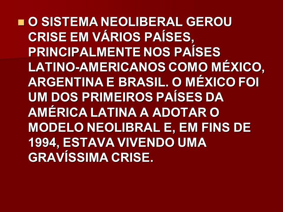 O SISTEMA NEOLIBERAL GEROU CRISE EM VÁRIOS PAÍSES, PRINCIPALMENTE NOS PAÍSES LATINO-AMERICANOS COMO MÉXICO, ARGENTINA E BRASIL.