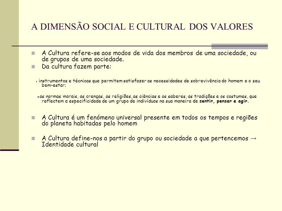 A DIMENSÃO SOCIAL E CULTURAL DOS VALORES