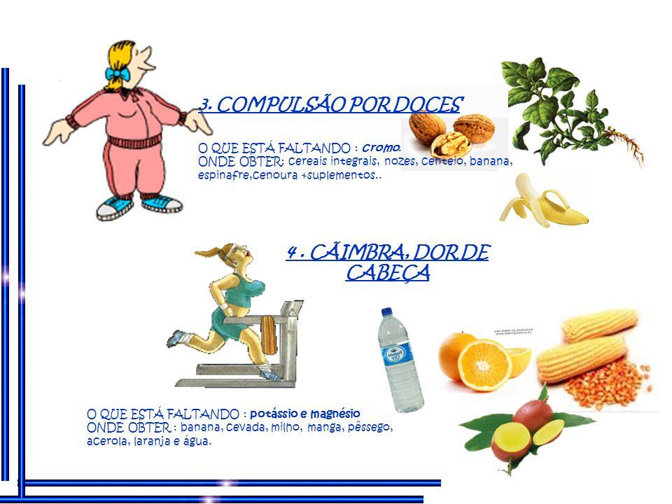 3. COMPULSÃO POR DOCES 4 . CÃIMBRA, DOR DE CABEÇA