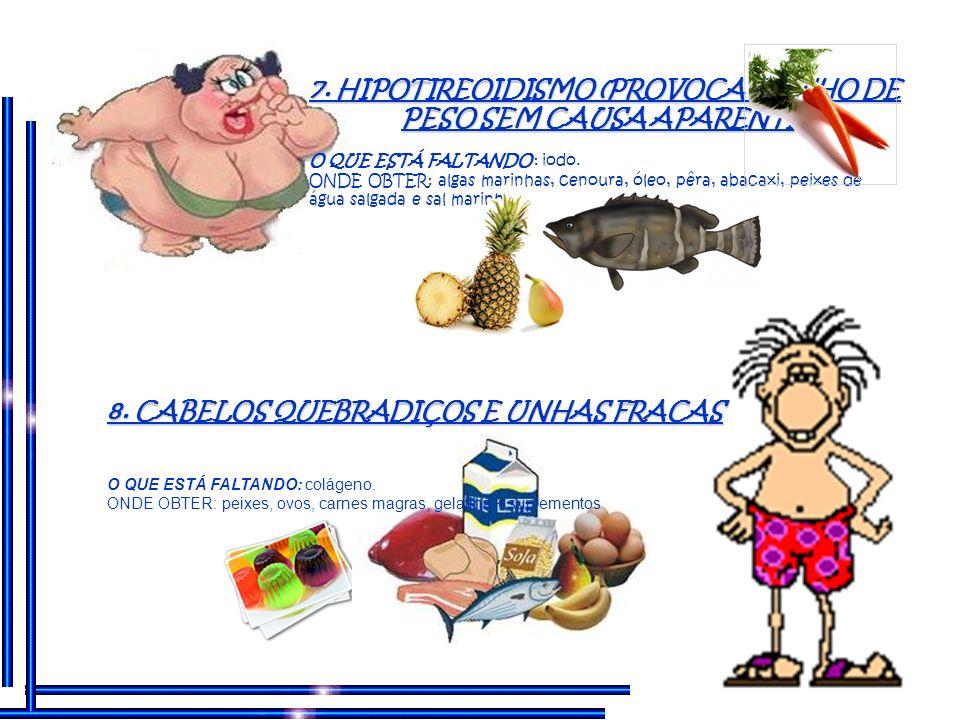7. HIPOTIREOIDISMO (PROVOCA GANHO DE PESO SEM CAUSA APARENTE)
