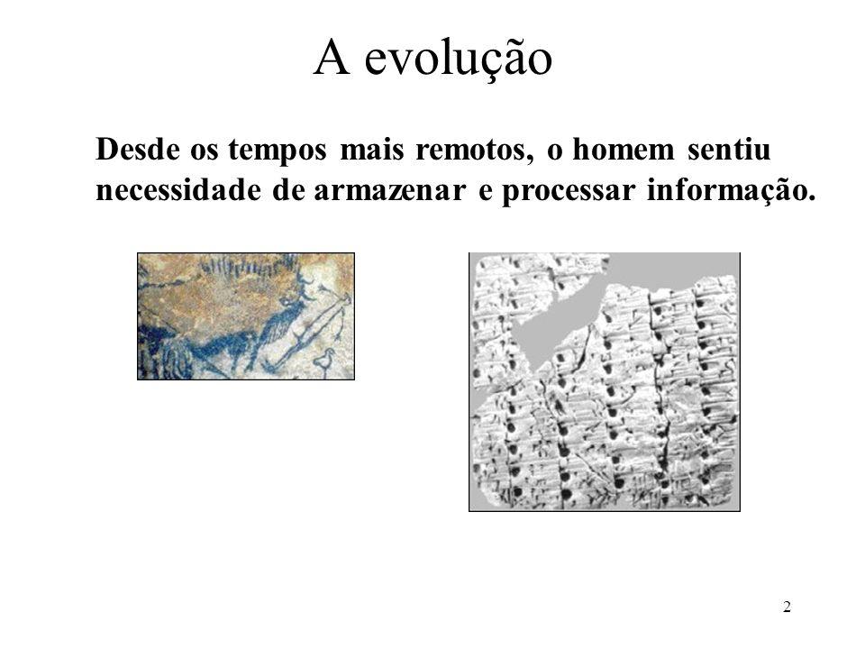 A evolução Desde os tempos mais remotos, o homem sentiu necessidade de armazenar e processar informação.