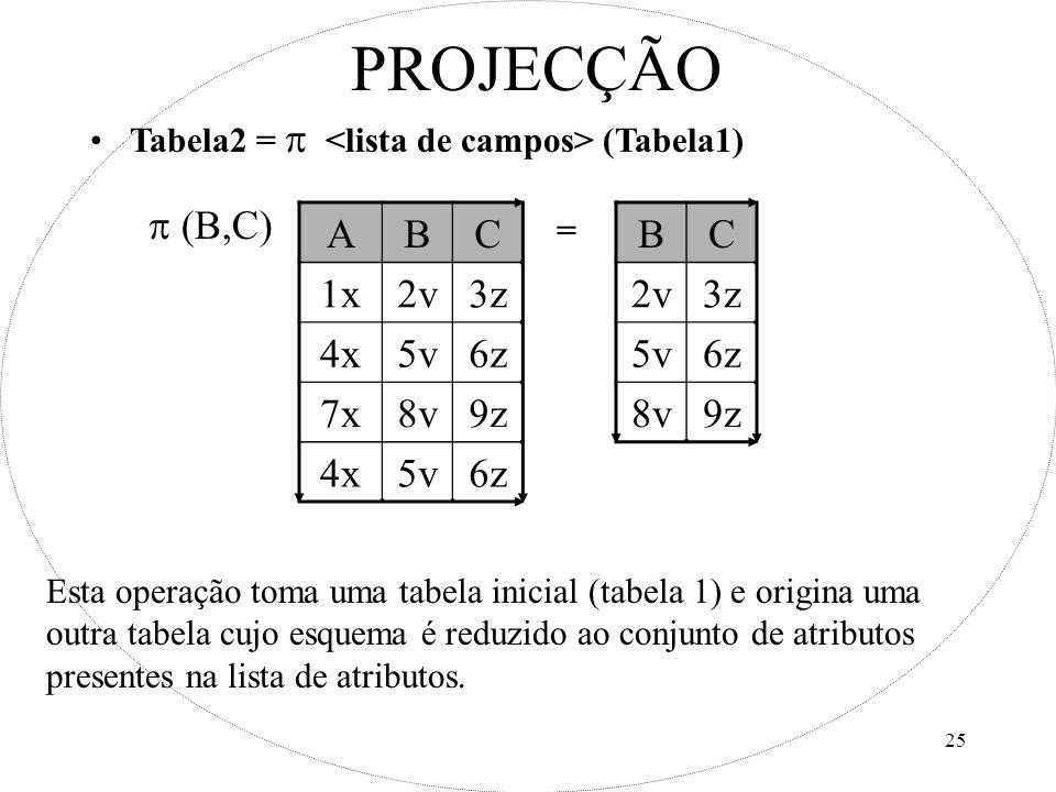 PROJECÇÃO A B C 1x 2v 3z 4x 5v 6z 7x 8v 9z B C 2v 3z 5v 6z 8v 9z