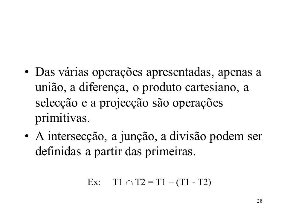 Das várias operações apresentadas, apenas a união, a diferença, o produto cartesiano, a selecção e a projecção são operações primitivas.