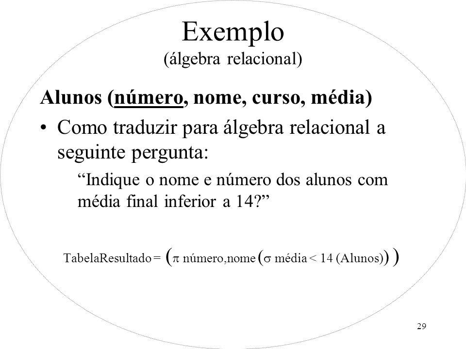 Exemplo (álgebra relacional)