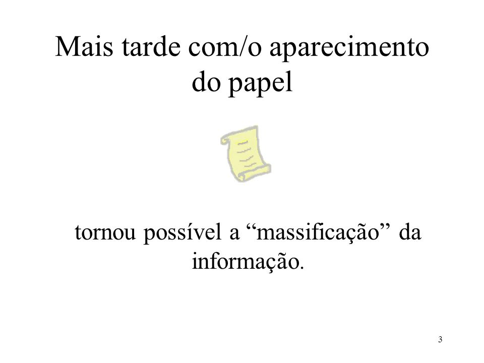 Mais tarde com/o aparecimento do papel