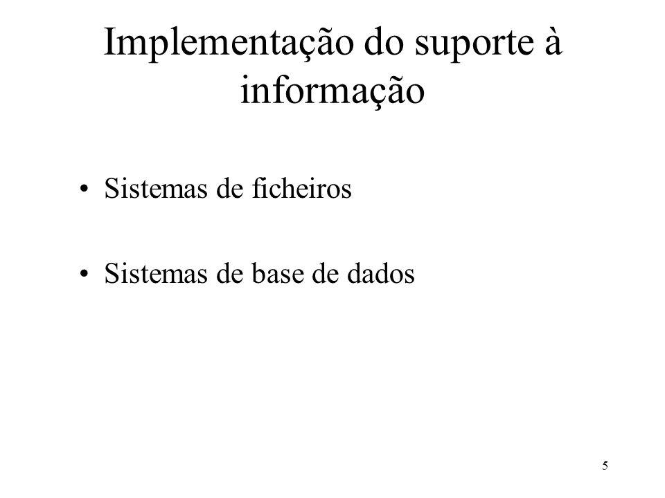 Implementação do suporte à informação