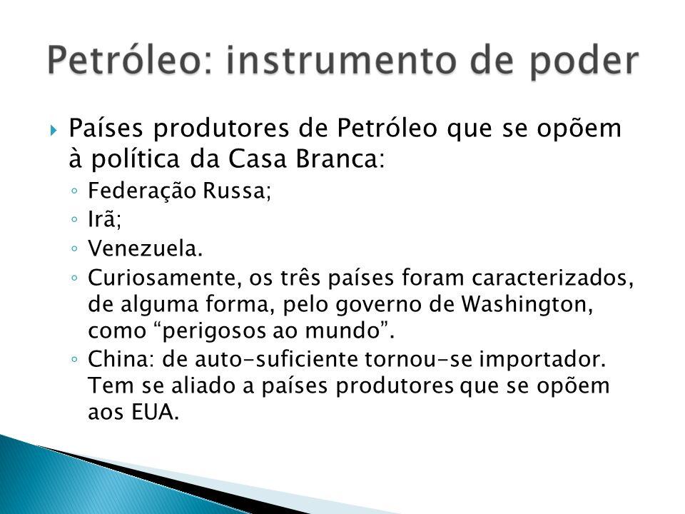 Países produtores de Petróleo que se opõem à política da Casa Branca: