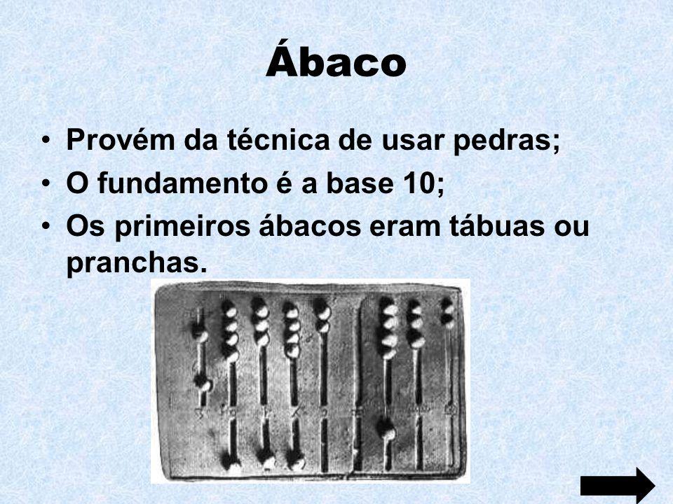 Ábaco Provém da técnica de usar pedras; O fundamento é a base 10;