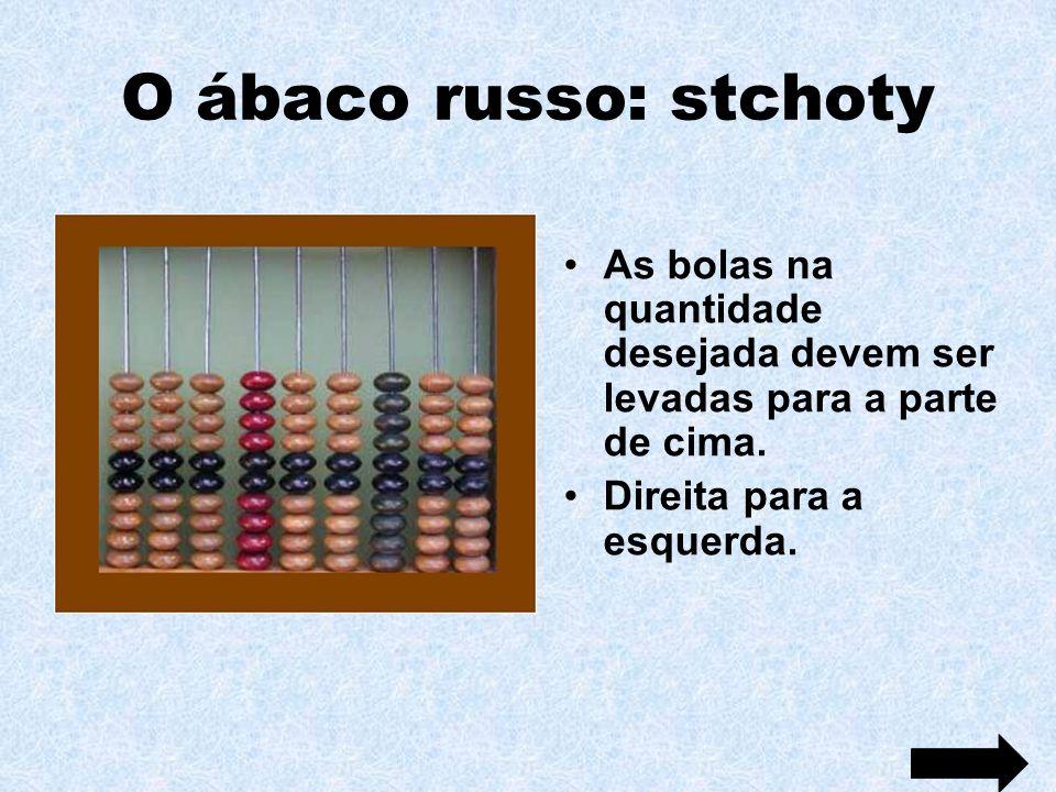 O ábaco russo: stchoty As bolas na quantidade desejada devem ser levadas para a parte de cima.