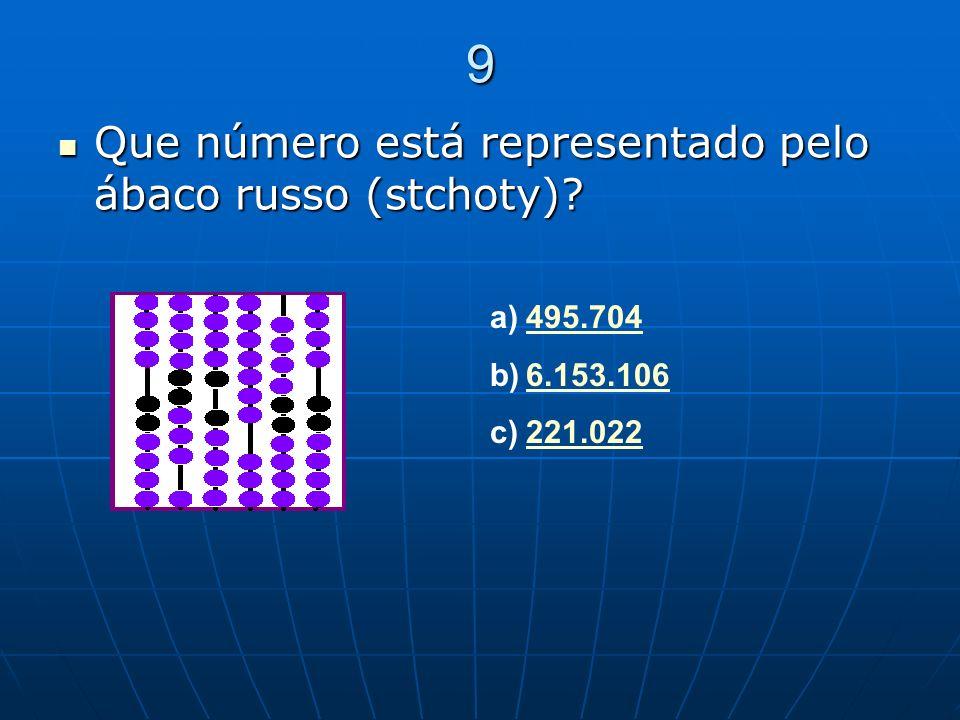 9 Que número está representado pelo ábaco russo (stchoty) 495.704