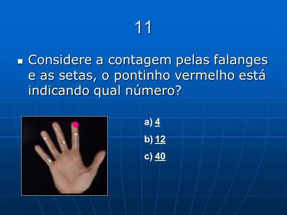 11 Considere a contagem pelas falanges e as setas, o pontinho vermelho está indicando qual número 4.