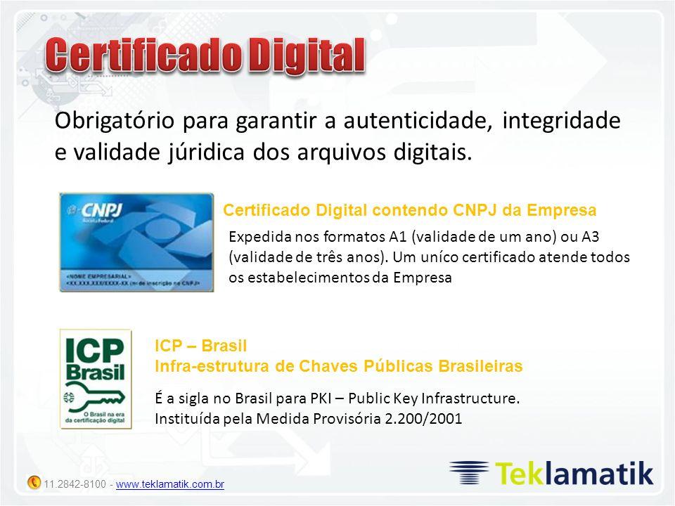 Certificado DigitalObrigatório para garantir a autenticidade, integridade e validade júridica dos arquivos digitais.