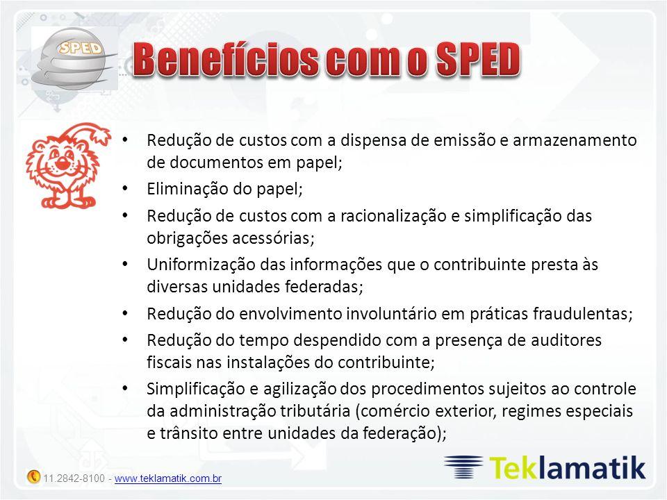 Benefícios com o SPED Redução de custos com a dispensa de emissão e armazenamento de documentos em papel;