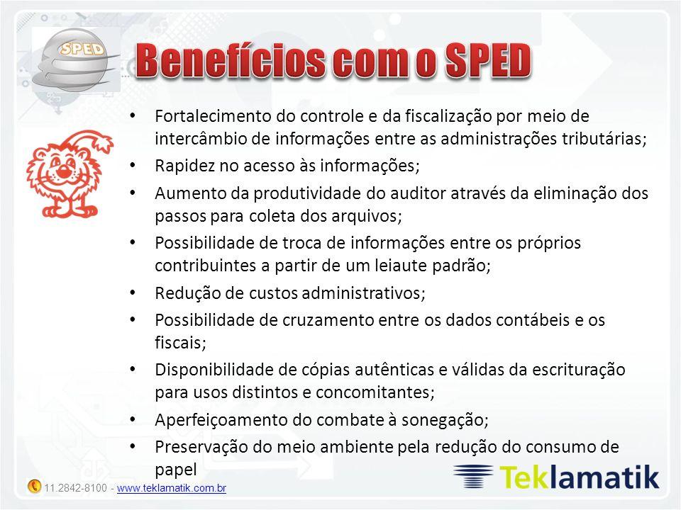 Benefícios com o SPED Fortalecimento do controle e da fiscalização por meio de intercâmbio de informações entre as administrações tributárias;