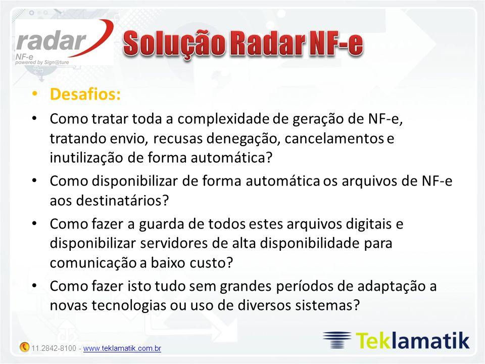 Solução Radar NF-e Desafios: