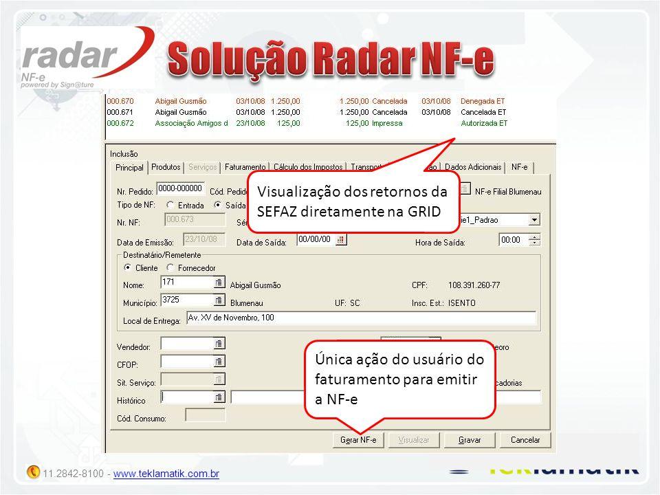 Solução Radar NF-e Visualização dos retornos da SEFAZ diretamente na GRID.