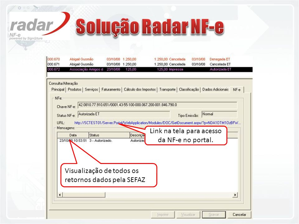 Link na tela para acesso da NF-e no portal.