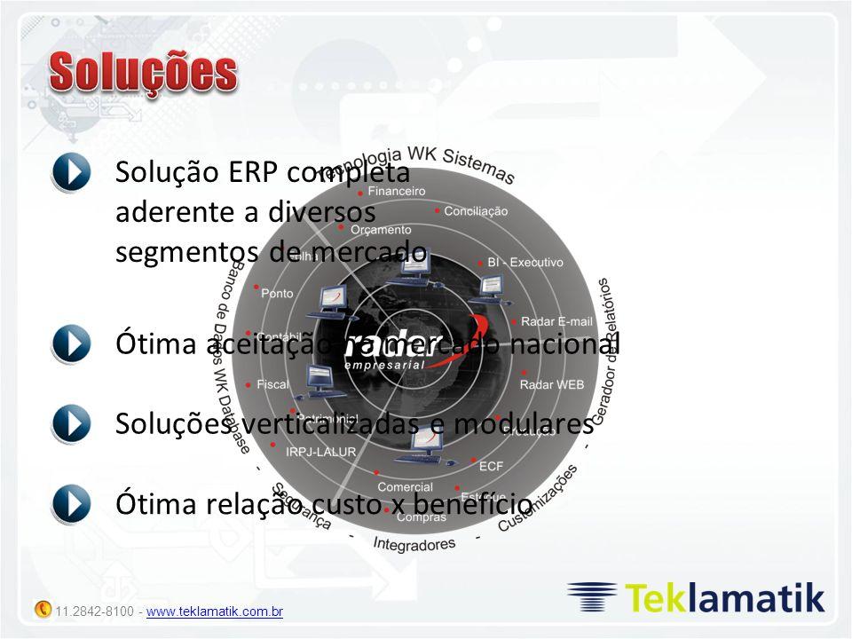 Soluções Solução ERP completa aderente a diversos segmentos de mercado