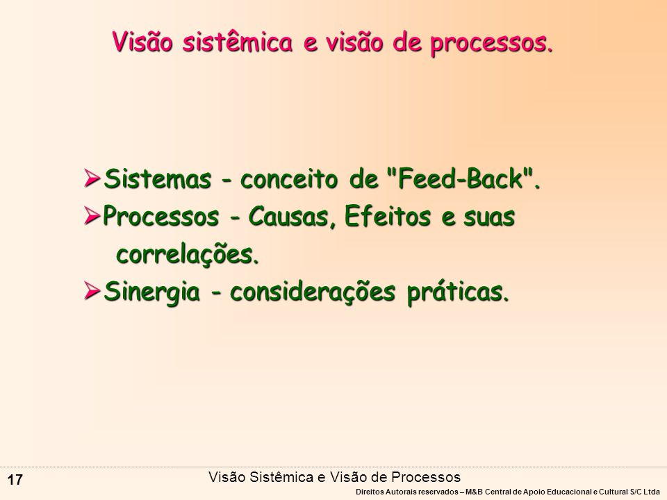Visão sistêmica e visão de processos.