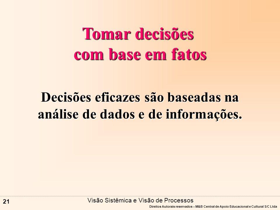 Decisões eficazes são baseadas na análise de dados e de informações.